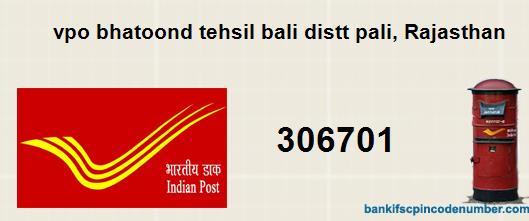 Postal Pin Code Number Of Vpo Bhatoond Tehsil Bali Distt Pali Rajasthan